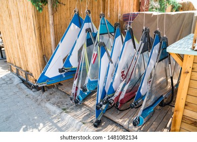 Windsurfing in the sea and the surf equipments, Dynamic Sport. Alacati wind Surf Paradise, Cesme - TURKEY 09.July.2019