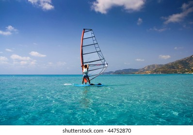 Windsurfing in a tropical island called sardinia