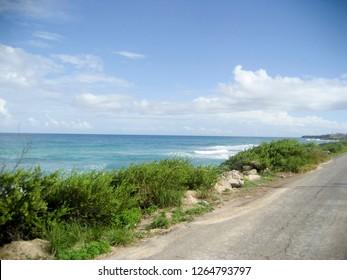 Windswept Coastline and Road on Isla Mujeres, Mexico