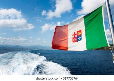 Windswept flag of Italian Navy (Marina Militare).
