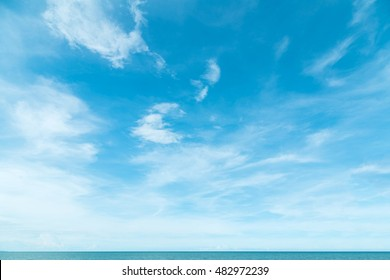 Windy clear cloud on blue sky in morning summer nature background concept for vivid nature fog banner image, Asia wind gloomy weather, wide screen, tropical relaxing vacation calendar 2021 decor
