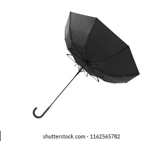 Windy day -Black classic umbrella inside out, isolated on white background, included clipping path
