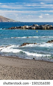 Windy day at the coastline and beach of Los Cancajos in La Palma, Spain.
