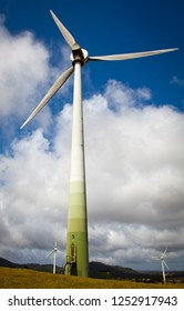 Windy Hill Wind Farm near Ravenshoe on the Atherton Tablelands, Queensland, Australia. Portrait shot of wind turbine in Action. Renewable Energy, Climate Change Solution.
