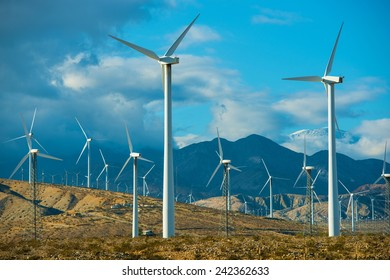 Windy Mountains Spot and Wind Turbines in Souther California Palm Springs Area.