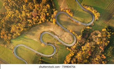 Windy road aerial shot