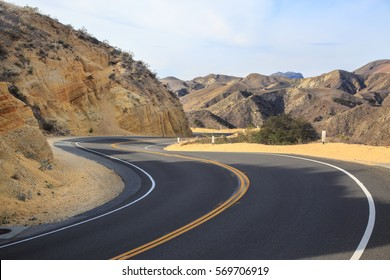 Windy road in southern California mountains