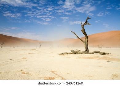A windy Sossusvlei desert, Namibia