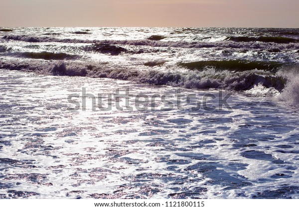 windy weather , deep stormy sea water surface
