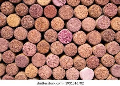 Wine background. Lots of bottle caps. Bark cork. Wine bottle corks.