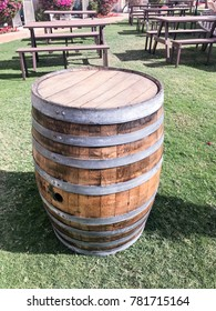 wine barrel with beer benchers
