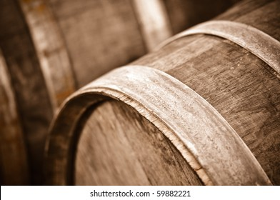 Wine Barrel in Cellar