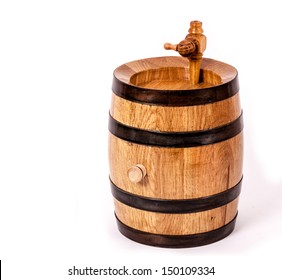 Wine barrel with cock of the powder and cork on side