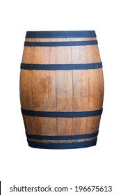 Wine barrel isolated on white with clipping path