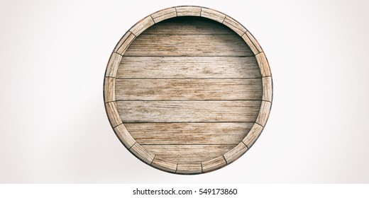 Wine barrel isolated on white background. 3d illustration