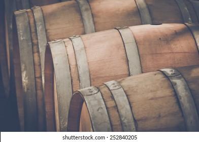 Wine Barrel outside in Retro Instagram Style