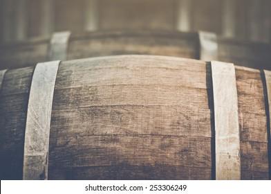 Wine Barrel with Vintage Instagram Film Style Filter, unfocused