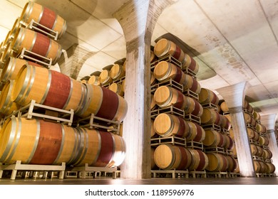 Wine barrels in cellar in Italy, Tuscan.