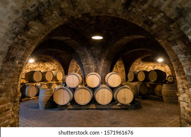 wine barrels in the cellar, Szekszard, Hungary