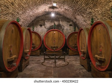 Wine barrels in a Montepulciano cellar, Tuscany