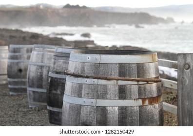 Wine Barrels Ocean Fence Line
