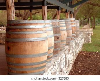 Wine barrels on a wall