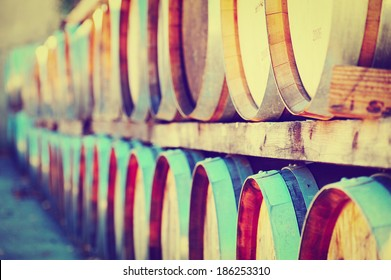 Wine Barrels Stacked in the Winery, Instagram Effect