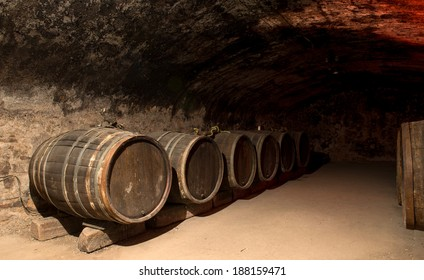 Wine barrels in a traditional cellar