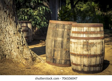 Wine Barrels in the vineyard field in Malibu California