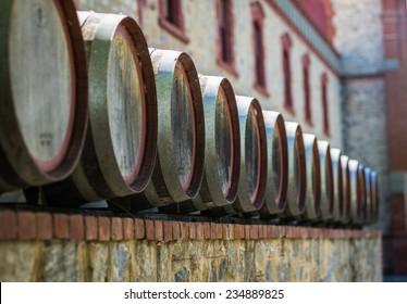 wine barrels at a Winery