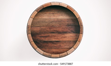 Wine, beer barrel. Old wooden barrel top isolated on white background, top view. 3d illustration