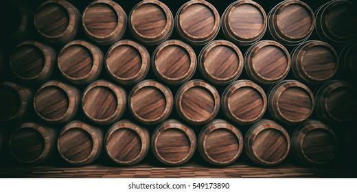 Wine, beer barrels stacked full background. 3d illustration