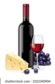 Wine bottle, Cheese, Grapes and Wineglass
