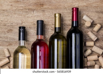 wine bottle and corks background with copy space