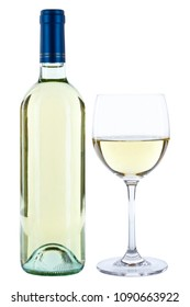 Wine bottle glass alcohol beverage isolated on a white background