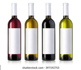wine bottle in glass bottle with blank label andl on white background