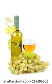 Wine bottle, glass and grapes isolated on white background