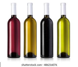 wine bottle in glass bottle on white background