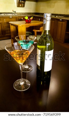 Wine Bottle Glass Put On Table Stock Photo Edit Now 719569399