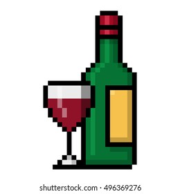 Wine bottle and a glass of red wine pixel art