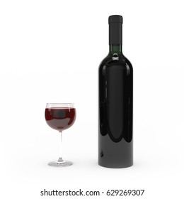 Wine bottle isolated 3d rendering on white background