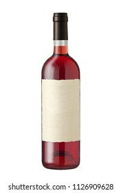 Wine bottle isolated on white, with blank label