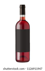 Wine bottle isolated on white, with blank and black label