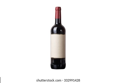 wine bottle isolated on white with clipping path.