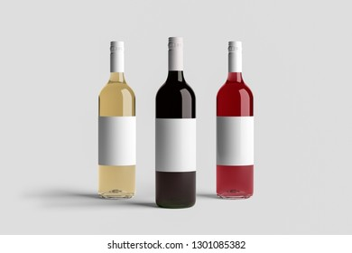 Wine Bottle Mock-Up isolated on soft gray background. Blank Label.High resolution photo.