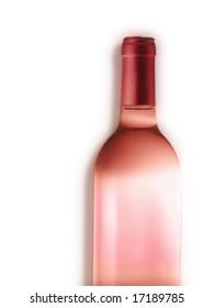 wine bottle rose  isolated on white
