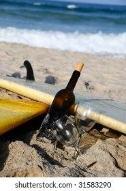 Wine bottle, some glasses, a couple of surf boards and the Florida beach. What more do you need for summer?