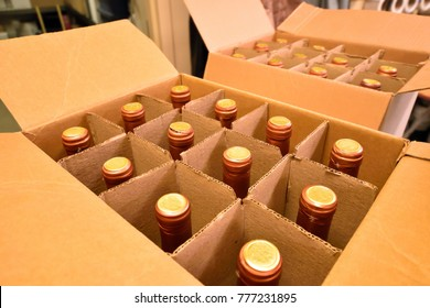 Wine Bottles in a Carton Box Close Up