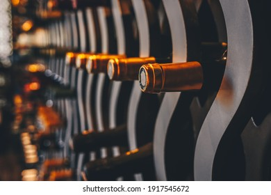 Wine bottles in the wine cellar. Upscale luxury food and beverage concept backdrop with place for text