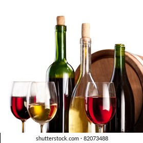 Wine bottles and glasses on a white background. The file contains a path to cut.
